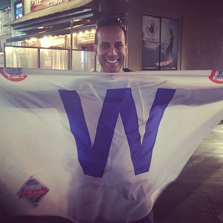 Moments cubs win flag